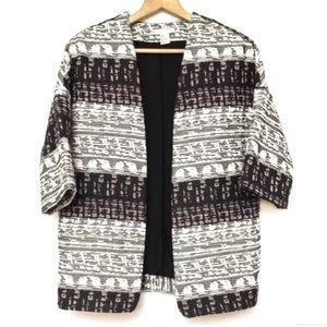 Artsy Patterned Boxy Cocoon Blazer Jacket